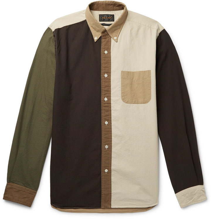 Beams Button-Down Collar Colour-Block Cotton-Seersucker Shirt