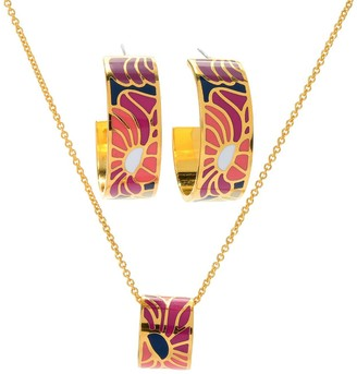 Samuel B. Gold Plated Foral Earrings & Necklace Set