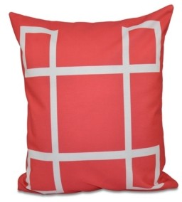 e by design 16 Inch Coral Decorative Geometric Throw Pillow