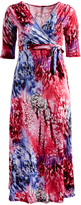 Glam Red Abstract Tie-Waist Maxi Dress - Plus