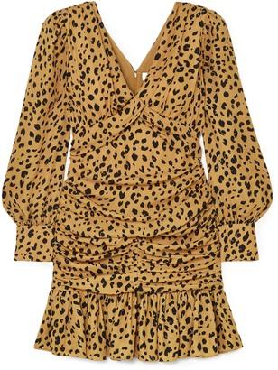 Nicholas Ruched Leopard-print Silk-crepe Mini Dress