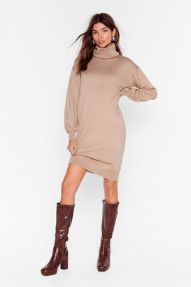 Nasty Gal Womens Such a Roll Model Knit Mini Dress - Beige - S/M, Beige