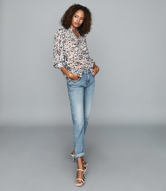 Reiss Talia - Floral Printed Blouse in Ivory