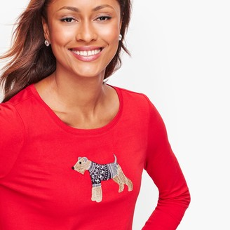 Talbots Long Sleeve Crewneck Tee - Winter Dog