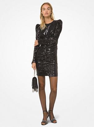 MICHAEL Michael Kors Sequined Puff-Shoulder Mini Dress