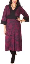 Aller Simplement Bordeaux & Black Floral Midi Dress - Plus