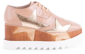 Stella McCartney Elyse Metallic Star Platform Wedge Oxfords