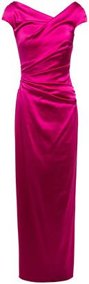 Talbot Runhof Roya Ruched Duchesse Satin Dress