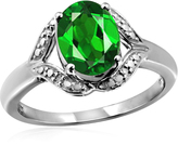 1 1/5 CT TW Chrome Diopside Sterling Silver Ring with Diamond Accents by JewelonFire