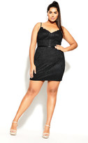 City Chic Sassy Lace Dress - black