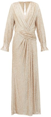 Jonathan Simkhai Sequin-embroidered Draped V-neck Gown - Womens - Gold