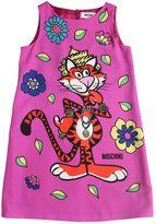 Moschino Tiger Printed Crepe De Chine Dress