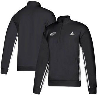 adidas Men's Black Detroit Red Wings Must-Have Three-Stripe Track Quarter-Zip Pullover Sweatshirt