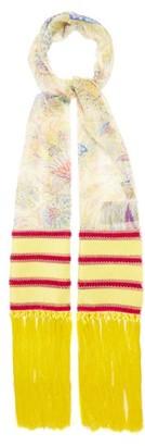 Etro Paisley-print Fringed Silk-georgette Scarf - Yellow Multi