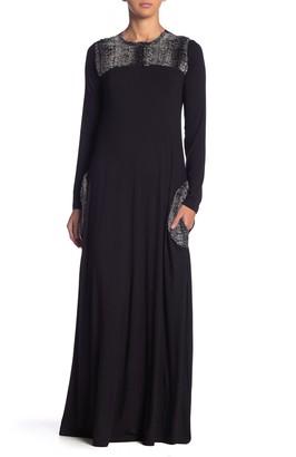 Go Couture Faux Fur Trim Maxi Dress