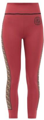 Fendi Rama Logo-tape Stretch Leggings - Burgundy