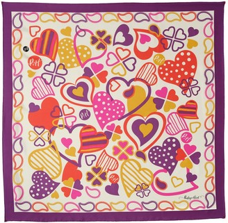 Paisley & Heart Silk Twill Square Scarf - Classic Purple Border