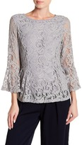 Adrianna Papell Bell Sleeve Lace Blouse