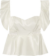 Jonathan Simkhai Ruffled corded lace-trimmed satin-twill top