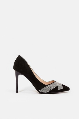 Coast Suedette Diamante Court Shoe