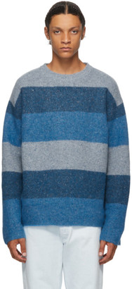 J.W.Anderson Blue Striped Crewneck Sweater