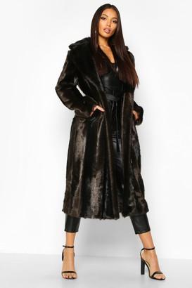 boohoo Longline Vintage Faux Fur Coat