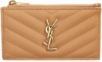 Saint Laurent Pebbled Leather Zip Card Case
