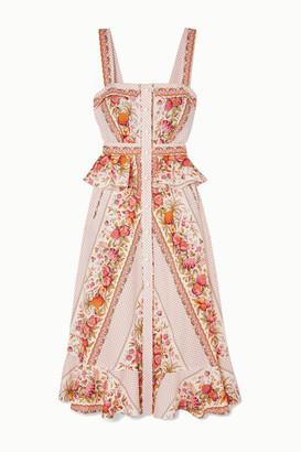 ANNA MASON Olivia Ruffled Printed Cotton Midi Dress - Neutral