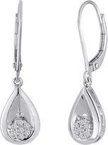JCPenney FINE JEWELRY diamond blossom 1/10 CT. T.W. Diamond Cluster Sterling Silver Teardrop Earrings