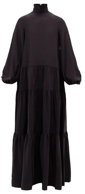 Rochas Balloon-sleeve Gathered Duchess-satin Gown - Black