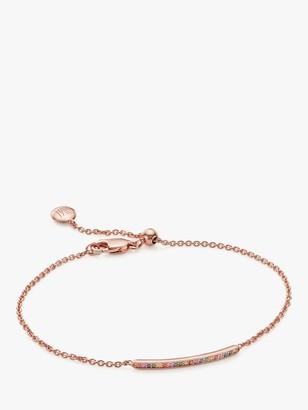 Monica Vinader Multi Stone Skinny Bar Chain Bracelet, Rose Gold