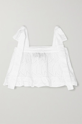 Paper London Emely Cropped Ruffled Broderie Anglaise Cotton Top - White