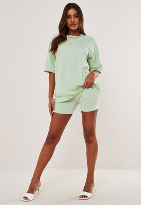 Missguided Green Oversized T Shirt And Cycling Short Co Ord Set