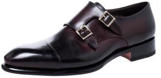 Santoni Burgundy Leather Double Buckle Monk Derby Size 44.5
