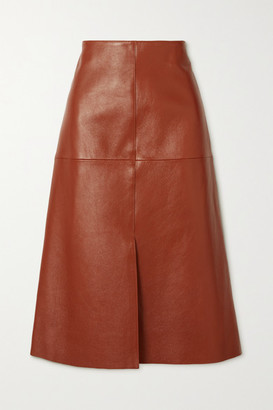 Joseph Sidena Leather Midi Skirt - Brown