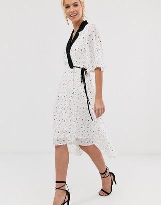 UNIQUE21 mixed heart print tailored wrap dress-White
