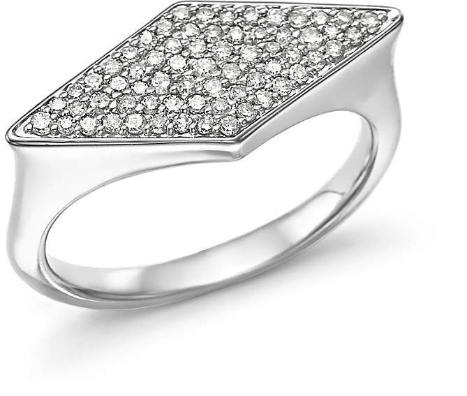 Adina Sterling Silver Pave Diamond Stretched Diamond Signet Ring