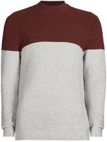 Topman Burgundy And Black Turtle Neck Jumper