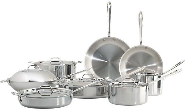 """Crate & Barrel 14-Piece Set with Bonus: 10"""" frypan, 12"""" frypan, 2 qt. saucepan with lid, 3 qt. saucepan with lid, 3 qt. sauté pan with lid, 6 qt. sauté pan with lid, 12"""" chef's pan with lid and 8 qt. stockpot with lid, bonus lasagna set."""
