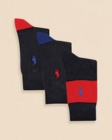 Ralph Lauren Boys' Rugby Stripe Socks, 3 Pack - Sizes 8-11