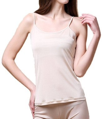 Hoffen Women's Pure Silk Knitted Camisole Vest Tops (White L)