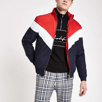 River Island Mens Red chevron funnel neck padded jacket