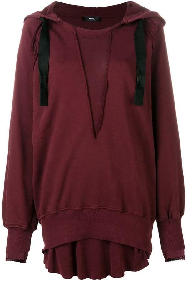 Diesel oversized layered hem hoodie