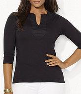 Lauren Ralph Lauren Plus Split Neck Woven Trim Knit Tunic