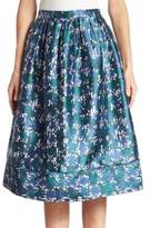 Oscar de la Renta Printed Silk & Cotton Skirt