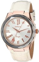 Invicta Women's 'Angel' Quartz Stainless Steel and Leather Casual Watch, Color:White (Model: 22541)