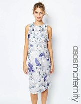 Asos Ruffle Pencil Dress in Occasion Floral