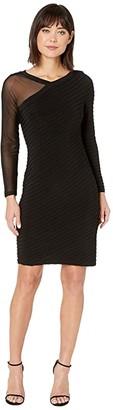 Adrianna Papell Illusion Bias Pin Tuck Dress (Black) Women's Dress