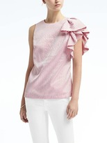 Banana Republic Stripe Ruffle-Sleeve Shell