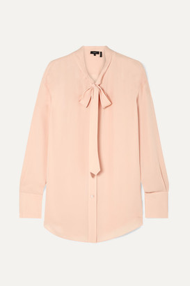 Theory Weekender Pussy-bow Silk-georgette Shirt - Pastel pink
